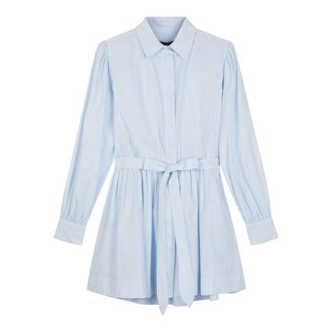 ALEXA CHUNG Blue Stripe Tie Front Dress