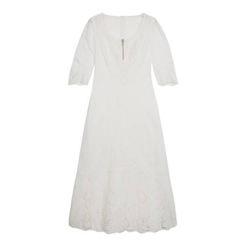 ALEXA CHUNG White Embroidered Detail Dress