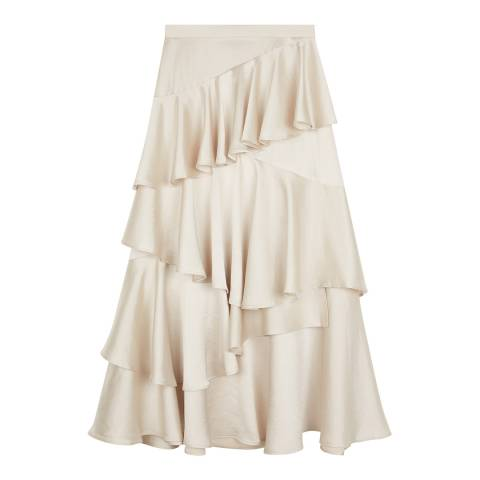 ALEXA CHUNG Champagne Long Tiered Ruffled Skirt