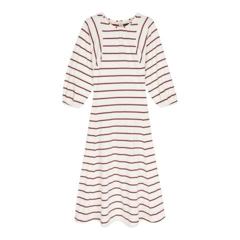 ALEXA CHUNG Cream/Pink Striped Jersey Dress