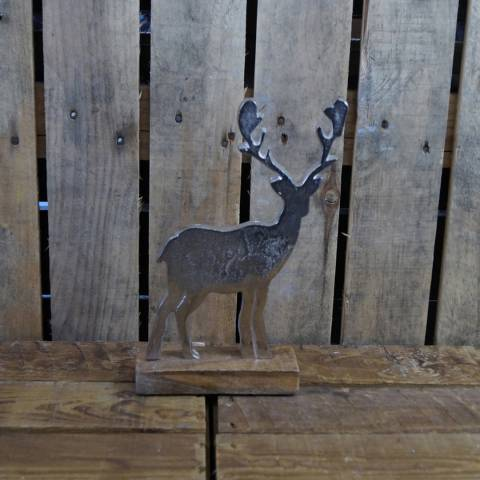 The Satchville Gift Company Large aluminium Reindeer on wood base