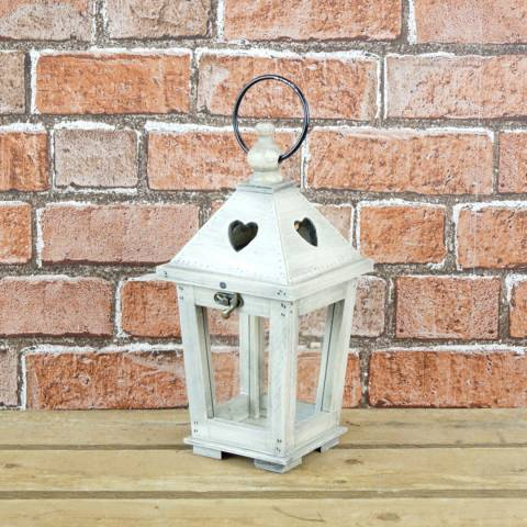 The Satchville Gift Company Wooden lantern with heart details