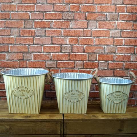 The Satchville Gift Company Set of 3 Antque cream zinc planters