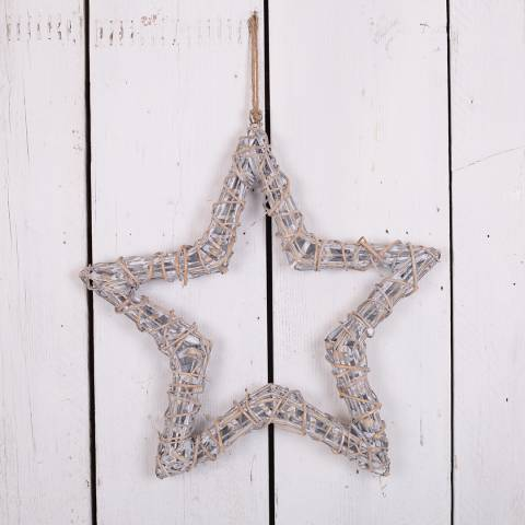 The Satchville Gift Company Grey washed hanging willow wrapped star