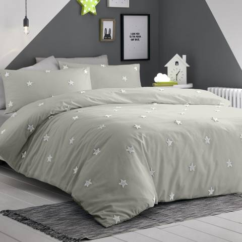 N°· Eleven Tufted Star Single Duvet Cover Set, Silver/White