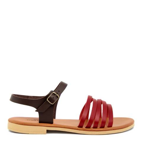 Alice Carlotti Brown & Pink Ankle Strap Leather Sandals