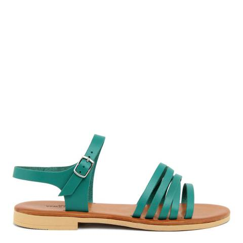 Alice Carlotti Turquoise Ankle Strap Leather Sandals