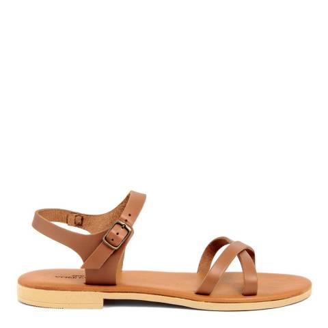 Alice Carlotti Tan Leather Flat Sandals