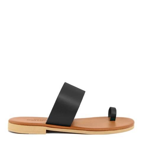 Alice Carlotti Black Slip On Toe Leather Sandals