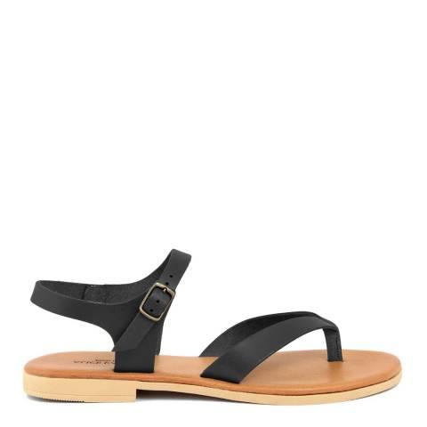 Alice Carlotti Black Leather Flip Flop Sandals