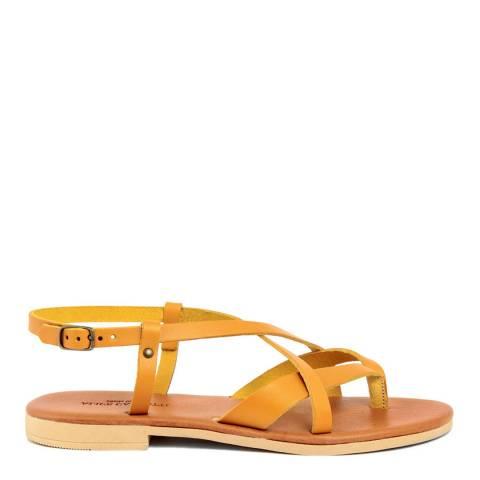 Alice Carlotti Orange Leather Flip Flop Buckle Sandals