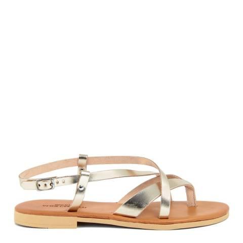 Alice Carlotti Gold Leather Flip Flop Buckle Sandals