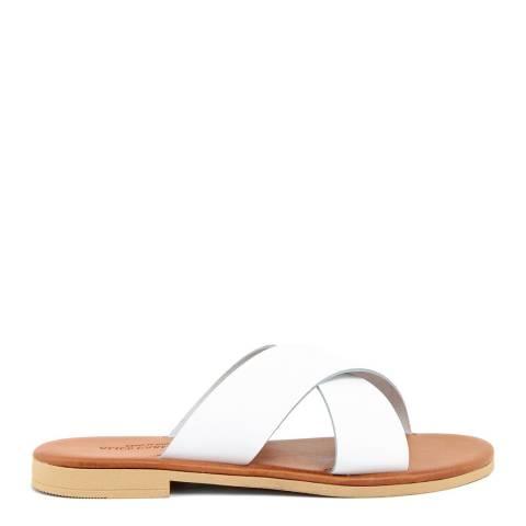 Alice Carlotti White Cross Over Leather Sandals