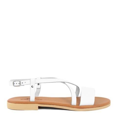 Alice Carlotti White Toe Strap Leather Sandals