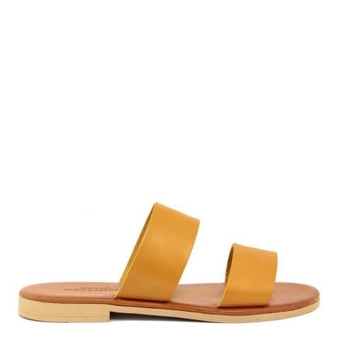 Alice Carlotti Orange Double Strap Leather Sandals