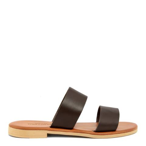 Alice Carlotti Brown Double Strap Leather Sandals