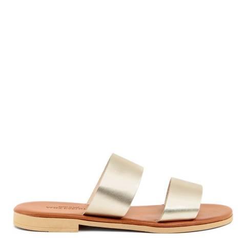 Alice Carlotti Gold Double Strap Leather Sandals