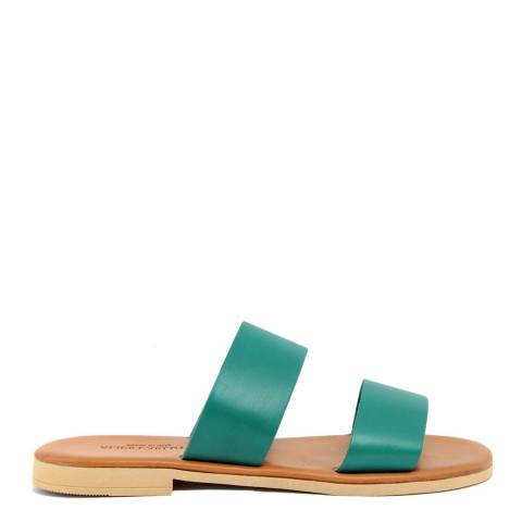 Alice Carlotti Turquoise Double Strap Leather Sandals
