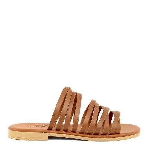 Alice Carlotti Tan Multiple Strap Leather Sandals