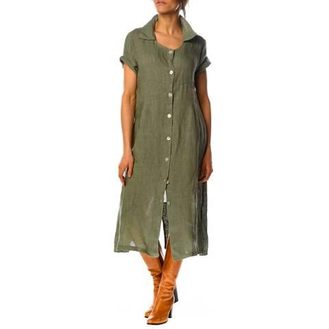 100% Linen Khaki Rose Linen Shirt Dress