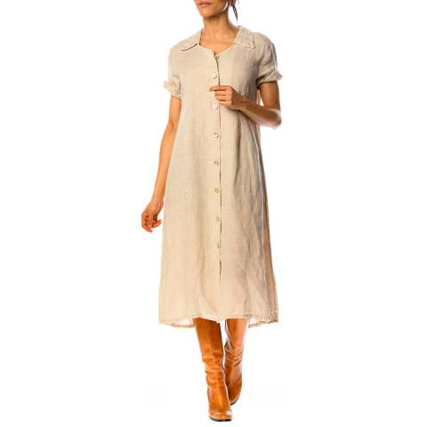 100% Linen Beige Rose Linen Shirt Dress