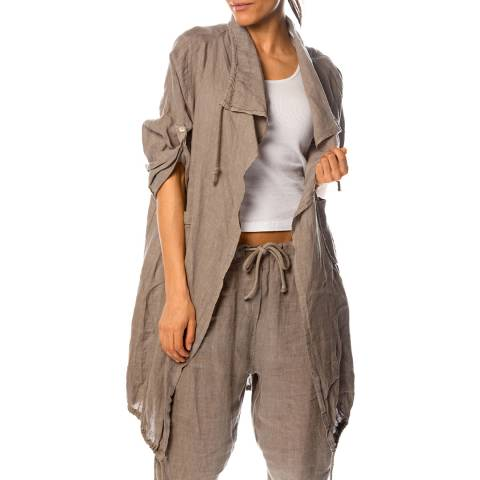 100% Linen Taupe Anemone Linen Jacket