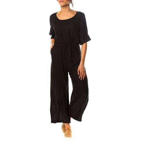 100% Linen Black Dalhia Linen Jumpsuit