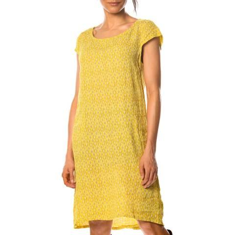 100% Linen Yellow Marlon Patterned Linen Dress