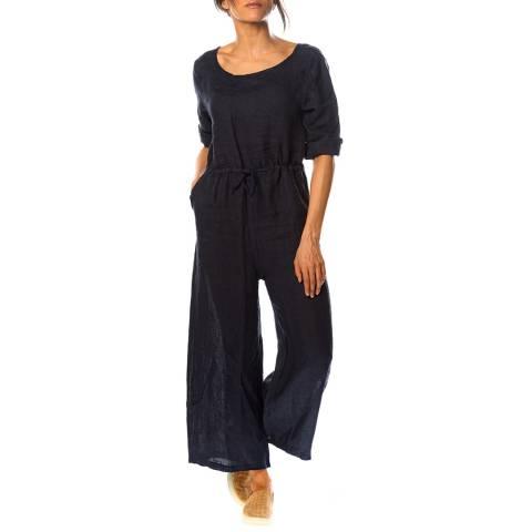 100% Linen Navy Dalhia Linen Jumpsuit