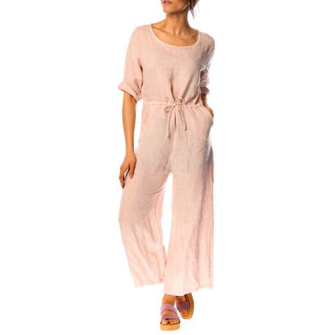 100% Linen Pink Dalhia Linen Jumpsuit