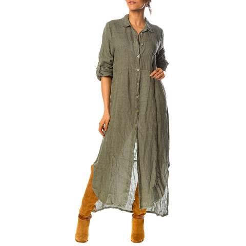 100% Linen Khaki Iris Linen Shirt Dress