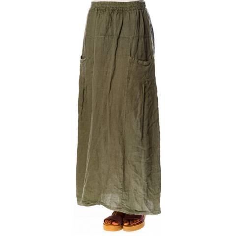 100% Linen Khaki Marjolaine Linen Skirt