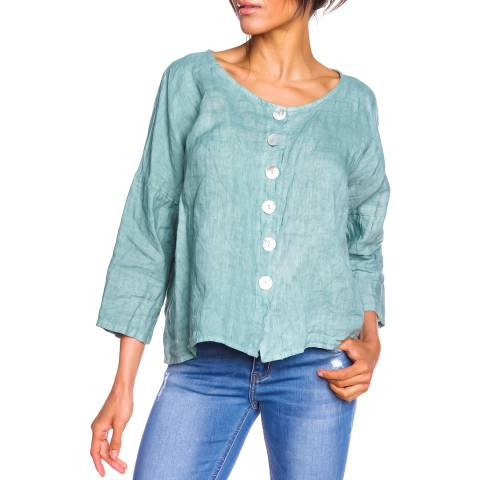 100% Linen Green Petille Linen Top