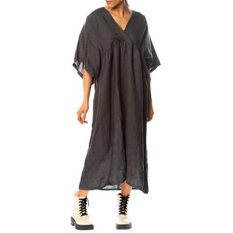 100% Linen Charcoal Flora Linen Dress