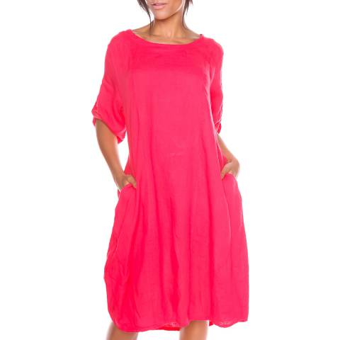100% Linen Coral Sarah Lee Linen Dress