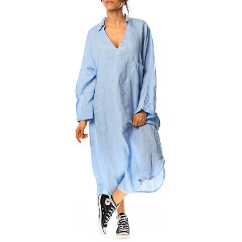 100% Linen Sky Blue Fleur Linen Dress
