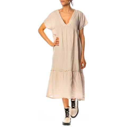 100% Linen Beige Narcisse Linen Dress