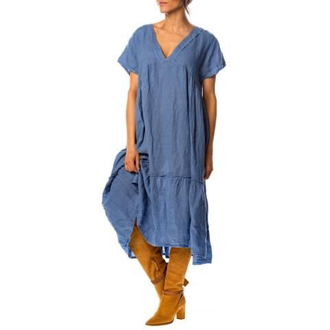 100% Linen Blue Narcisse Linen Dress