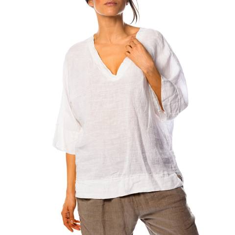 100% Linen White Capucine Linen Blouse