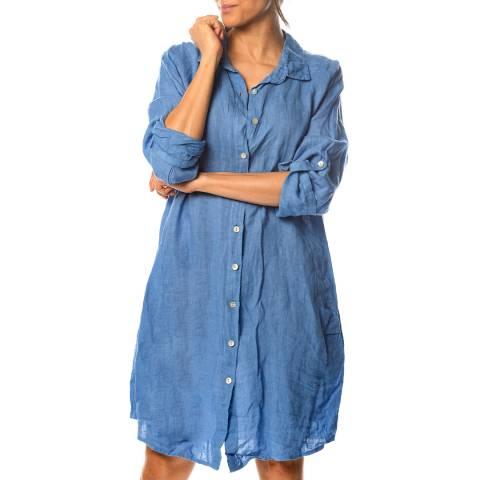 100% Linen Blue Eglantine Linen Shirt Dress