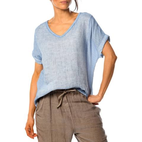 100% Linen Blue Angelique Linen Top