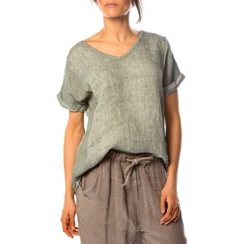 100% Linen Khaki Angelique Linen Top