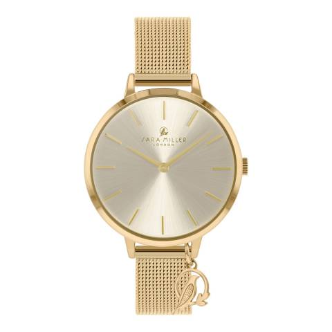 Sara Miller Pale Gold Sunray Dial Watch