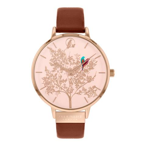 Sara Miller Tan Rose Gold Case Large Dial Garden Watch