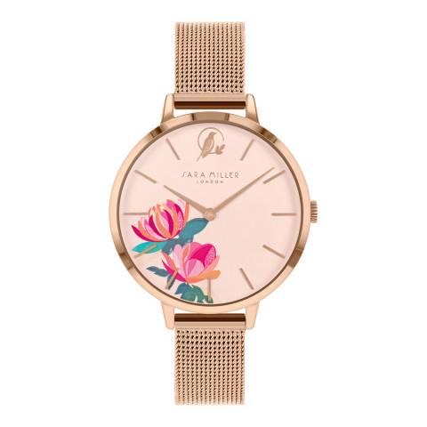 Sara Miller Rose Gold Floral Dial Watch