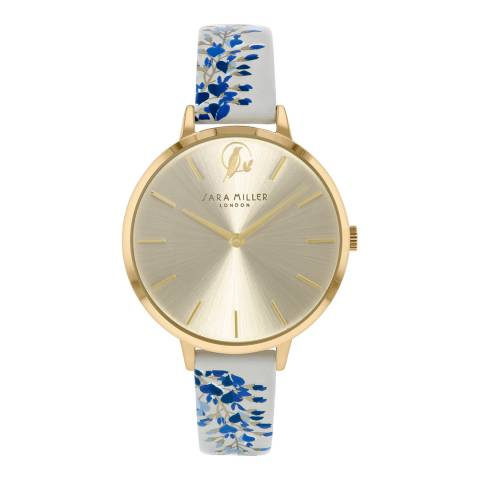 Sara Miller Pale Grey With Floral Print Watch