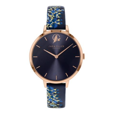 Sara Miller Navy With Floral Print Watch