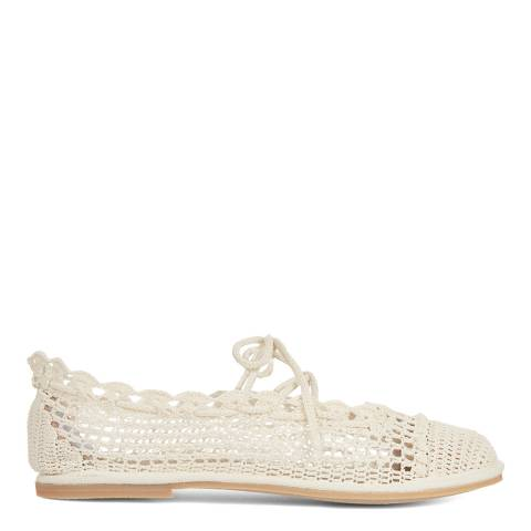 ALEXA CHUNG Ecru Crochet Travel Pump