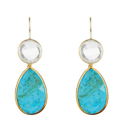 Liv Oliver 18K Gold Plated Clear Quartz & Turquoise Pear Drop Earrings