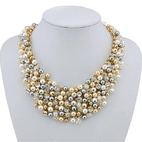 Liv Oliver 18K Gold Plated Multi Pearl & Crystal Necklace